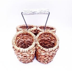 RAFFIA Multiple Compartment Caddy With Handle